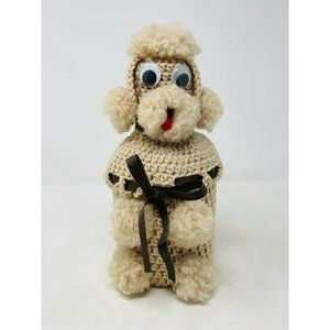 Vintage Crocheted Poodle Covered Decanter Tan